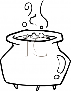 cauldron coloring page - royalty free witches cauldron clipart
