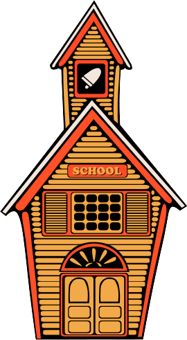 Clipart of a country school house with a bell in the town that rings to bring in the children from recess, Click here to get more Free Clipart at ClipartPal.com