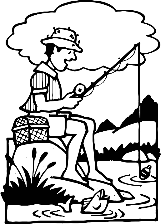 clip art fishing. Clipart of a man fishing in