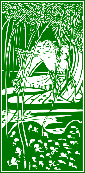 Green bookmark clipart of the frog king resting on a lilly pad