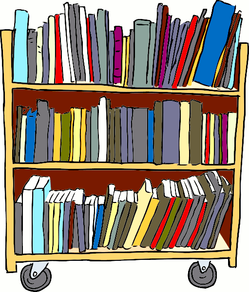 Clipart of a cart bookshelf with three rows of library books, Click here to get more Free Clipart at ClipartPal.com