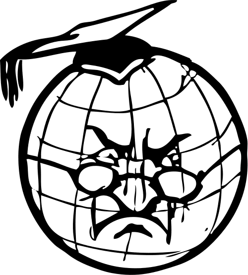 Clipart of a cartoon world globe with a stern professor face and a