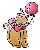 Clipart picture of a happy, brown kitty with a pointed party hat on, a big pink bow wrapped around his neck and a single pink balloon. , Click here to get more Free Clipart at ClipartPal.com