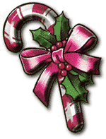 Clipart of a candycane with a giant bow wrapped around holly. , Click here to get more Free Clipart at ClipartPal.com