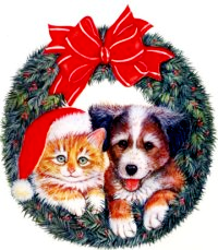 Clipart of a cat wearing a santa hat and a puppy posing in a wreath decorated with a giant red bow., Click here to get more Free Clipart at ClipartPal.com