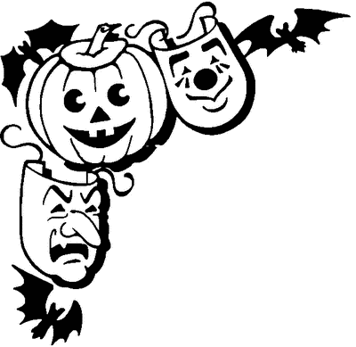Clipart of a black and white collection of Halloween decorations, a Jack O Lantern, a happy face costume mask with a round nose, an angry face costume mask with a pointed nose and three black bats flying around, great for a holiday corner display for flyers, party notes,  school projects and more , Click here to get more Free Clipart at ClipartPal.com