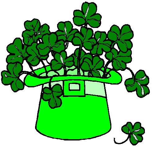 Clipart of a bright green leprechaun hat that is overflowing with clover. , Click here to get more Free Clipart at ClipartPal.com