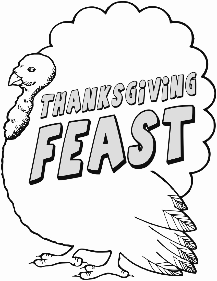 Free Thanksgiving Coloring Pages Clipart 1 page of Public Domain