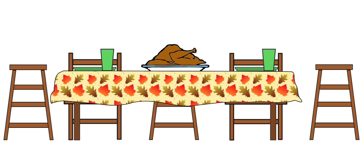 Free Thanksgiving Table Clipart 1 page of Public Domain