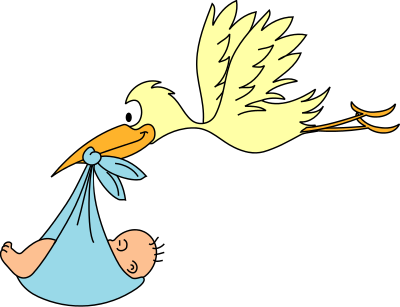 Free Baby and Stork Clipart