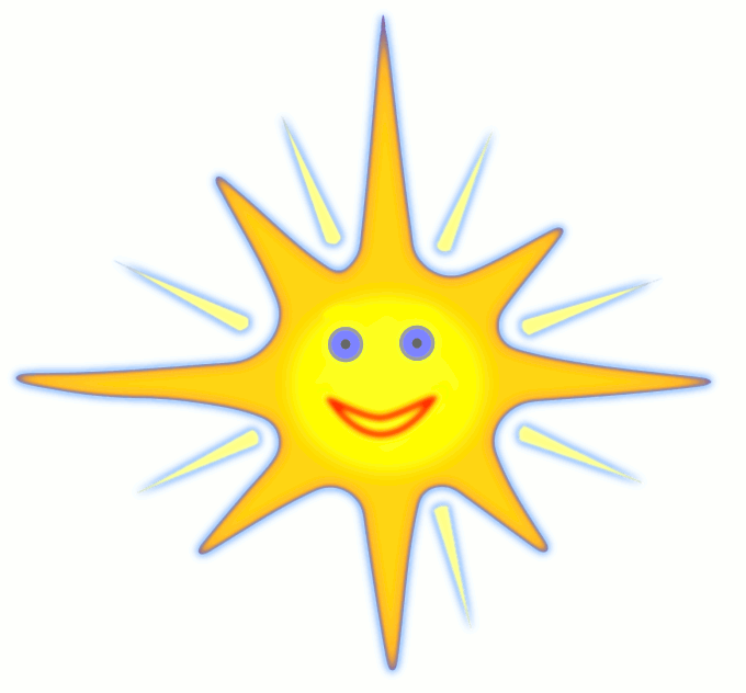 Clipart of the happy face of the sun shining