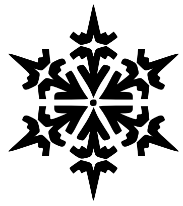 Black and white clipart of a single snowflake